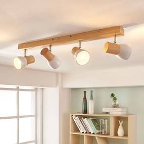 Houten plafondspot met witte kappen - lampen-24