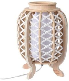 Tafellamp - hout met wit touw - ⌀ 25 x 33 cm
