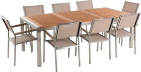 Tuinmeubel set mahoniehout 220 cm 8 stoelen met gespannen textiel beige GROSETTO