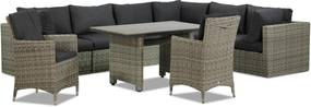 Garden Collections Comodo/Lusso 130 cm dining loungeset 9-delig
