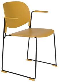 Stapelbare Design Eetstoelen Met Arm Okergeel