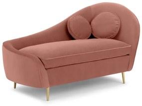 Kooper chaise longue met leuning links, lichtroze fluweel
