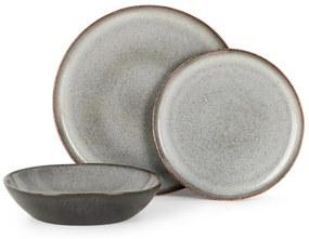 Krisha 12-delige servies, gespikkeld wit en houtskoolgrijs