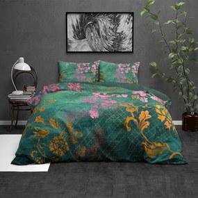 Wild Tiran Flower - Groen - Verwarmd Flanel 1-persoons (140 x 220 cm + 1 kussensloop) Dekbedovertrek