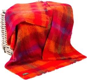 Plaid brushed mohair: rood, oranje
