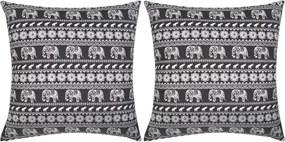Decoratief kussen canvas met olifantenprint zwart 45x45 cm 2 st