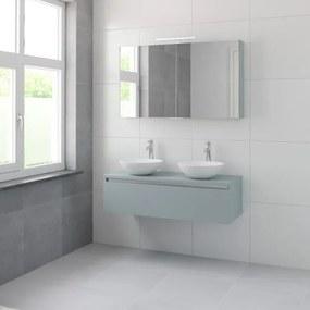 Bruynzeel Giro badmeubelset 49x120x46cm 2 wasbakken 1 lade met spiegelkast met softclose composite fjord groen 123102528
