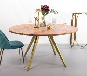 Light & Living Eettafel Mimoso, Acaciahout / Messing, 140cm