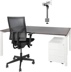 COMPLETE SET Recht bureau Proline 180x80cm + Bureaustoel CS Shine + Ladeblok + Monitorarm