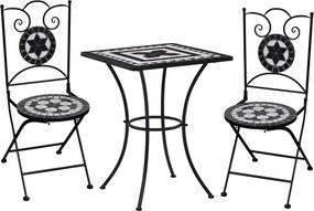 3-delige Bistroset mozaïek keramische tegel zwart en wit