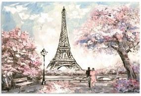 Schilderij - Romantisch Parijs, roze, 1 deel
