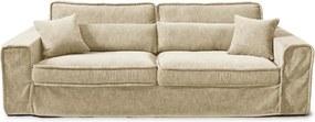 Rivièra Maison - Metropolis Sofa 3,5 seater, velvet, pearl - Kleur: beige