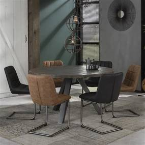 Dimehouse | Eettafel Vancouver lengte 140 cm x breedte 140 cm x hoogte 77 cm antraciet eettafels mangohout, metaal meubels | NADUVI outlet