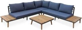 Houten loungeset 5 plaatsen met zijplanken en een lage tafel van acacia, structuur van aluminium, Scandinavische basis