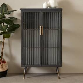 Kare Design Gomera Zwarte Wandkast Met Geribbeld Glas - 72x38x120cm.