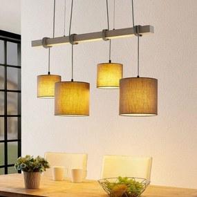 Rukaia hanglamp, stoffen kap grijs 4-lamps - lampen-24