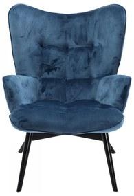 Kare Design Vicky Velvet Fauteuil Fluweel Blauw