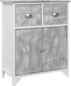 Bijzetkast 60x30x75 cm paulowniahout grijs en wit