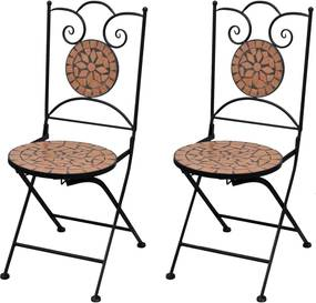 Bistrostoelen inklapbaar 2 st keramiek terracottakleurig