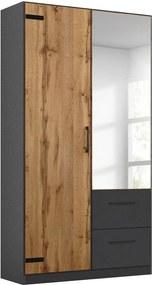 Goossens Basic Kledingkast Bastion, 91 cm breed, 197 cm hoog, 1x draaideur links en 1x spiegeldeur en 2x lade in kleur van romp rechts