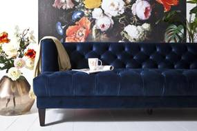 Bank Vogue - Velvet Blauw - Hout - Stof - Velvet - Eleonora - Velours Fluweel