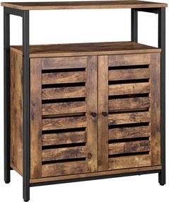 Nancy's Trenton Industriële Opbergkast - Commode Kasten - Boekenkast - Dressoir - Kast met 3 Planken en 2 Deuren - 70 x 30 x 80 cm