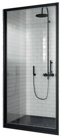 Douchedeur Draaibaar Novellini Zephyros G Helder Glas 72x195 cm Mat Zwart Profiel