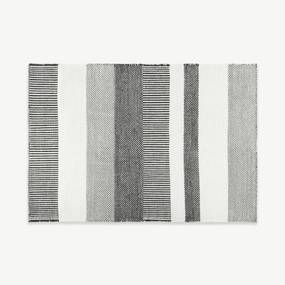 Malay gestreept vloerkleed van wol, groot, 160 x 230cm, zwart en wit