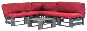 Medina 4-delige Loungeset pallet met rode kussens hout