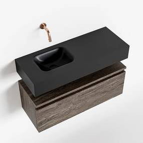 MONDIAZ ANDOR 80cm toiletmeubel dark brown. LEX 80cm wastafel urban links geen kraangat