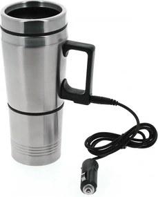 Thermosbeker elektrisch 300/200 ml 12 Volt RVS zilver