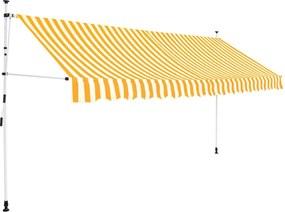 Luifel handmatig uittrekbaar 400 cm geel en witte strepen