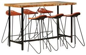 Medina 7-delige Barset massief gerecycled hout en echt leer