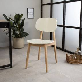 Dimehouse   Eetkamerstoel Milo - totaal: breedte 43 cm x diepte 48 cm x hoogte wit eetkamerstoelen beukenhout stoelen &   NADUVI outlet