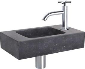 Fonteinset Differnz Force Rechthoek 40x22x9cm Bombai Natuursteen Zwart Kruisgreep Toiletkraan Clickwaste Sifon Chroom