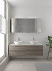 Combo badmeubelset 150 cm dubbel | spiegelkast bovenblad wit marmer - orlando eiken