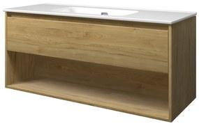Elegant badmeubel met open vak met keramische wastafel enkel zonder kraangat - Ideal oak - 120x46cm (bxd)