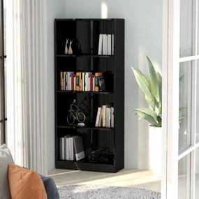 Boekenkast met 4 schappen 60x24x142 cm spaanplaat hoogglans zwart