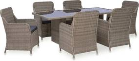 7-delige Tuinset poly rattan bruin