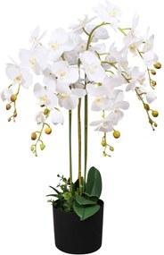 Kunst orchidee plant met pot 75 cm wit