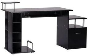 HOMdotCOM Computertafel bureau zwart 152 x 60 x 88cm