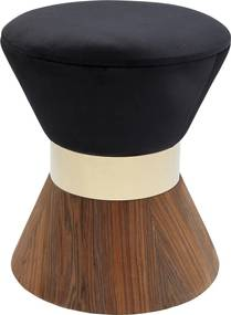 Kare Design Lilly Taille Walnoot Kruk Met Zwart Fluweel