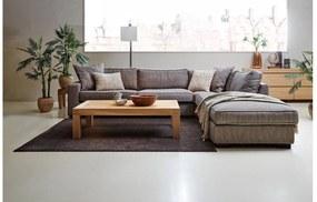 Goossens Hoekbank Thomas bruin, stof, 3-zits, stijlvol landelijk met ligelement rechts
