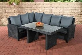 Wicker Poly rotan lounge dining set BERMEO hoekbank + eettafel 140 x 80 cm 6 plaatsen - kleur van 5 mm rotan zwart overtrek ijzerachtig grijs