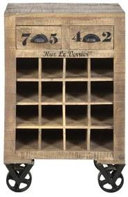Wijnrek Met Tekst Op Wielen - 55x35x85cm.