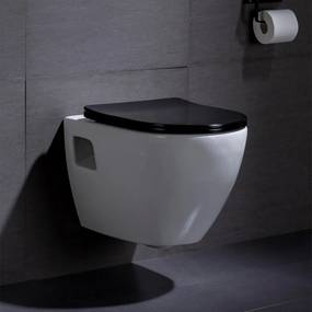 Wandcloset - Hangend Toilet Daley Flatline Zwart - Inbouwtoilet Rimfree WC Pot
