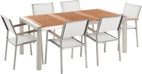 Tuinmeubel set mahoniehout 180 cm 6 stoelen textiel zitvlak wit GROSSETO