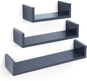 Loods 1 Wandplank met verhoogde zijkanten - 3 stuks- U-vorm - Donker Grijs - 60/45/30 cm