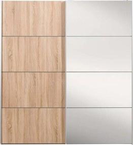 Schuifdeurkast Verona wit - grijs eiken/spiegel - 200x182x64 cm - Leen Bakker