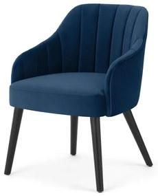 Boltan pleated dining chair, blauw velvet en zwart wood legs